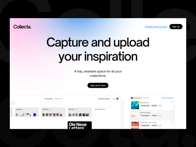 Collecta — Home page landing page hero product page gradient collections collection inspiration mood boards mood board design tool design tools