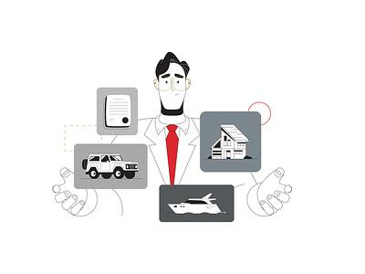 Businessman artwork mobile boat businessman style design illustration home car man vector