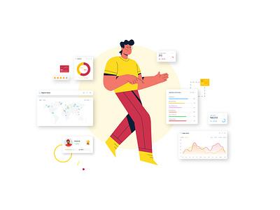 Floating man character business man floating illustrator style design illustration vector