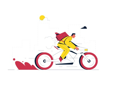 Delivery man fast yellow red black style design illustration vector motorbike delivery service man