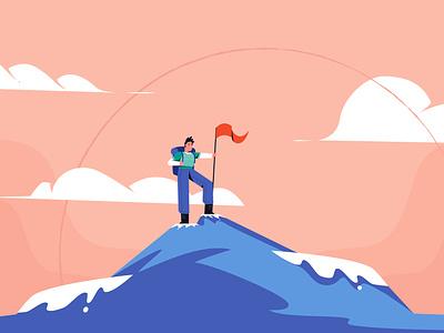 Mountain Climbing character illustrator blue hight top sky man motion graphics mountain climbing animation style artwork design illustration vector