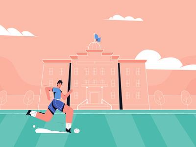 Football Player tree man red sky college school player football design illustrator style illustration vector motion graphics animation