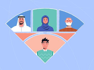 People red blue triangle arab old hijab woman man art illustrator style artwork design illustration vector motion graphics animation