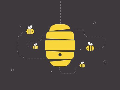 Beehive line vector black style illustrator illustration yellow design house bee artwork beehive