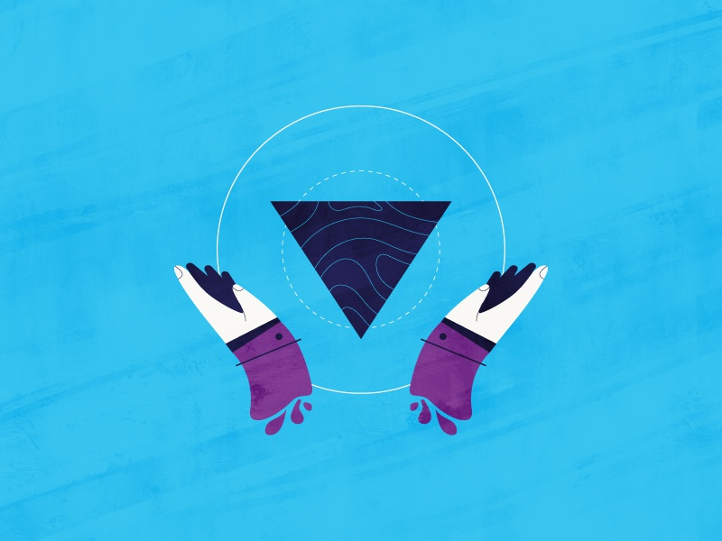 Hands purple care vector blue circle triangle hand art
