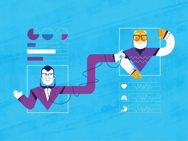 doctor vs patient statics blue purple health check care patient doctor art