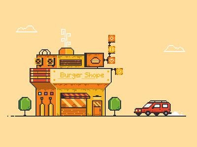burger shop illustration pixel bulding sky green red yllow tree burger shop car