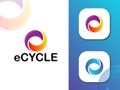 ECYCLE MODERN LOGO art branding  identity e e letter logo brand logos logo design icon logo app logo vector logo ux ui branding icon logo design illustration vector graphic design app