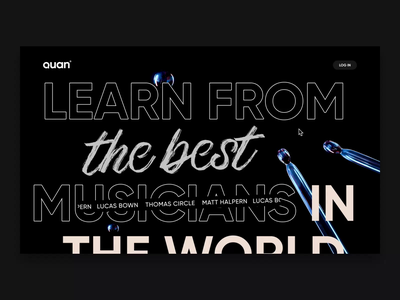 Quan landing page 3d model cinema 4d 3d logo after effects icon iphone animation musicians music app web ux ui dsign landing page