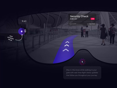 The Future of AR at the Airport mic security glasses voice apple info plane airport art smooth icon logo iphone design app after effects ae animation ux ui
