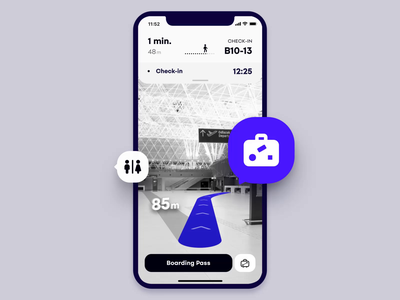 Improved airport experience through AR (part 1) measure map iphonex emirates quatar airlines passenger airplane check in booking ae ui animation ux app scan lugagge navigation airport augmented reality ar