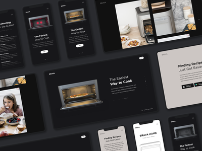 Dark-themed Product Page   Lazarev. app minimal presentation promo home page mobile cooking eat tech oven gallery product page product 3d ecommerce clean adaptive web ux ui