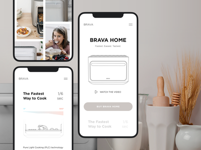 Responsive Website Brava Home | Lazarev. clay iphone ios mobile app product app oven white adaptation gallery home illustration graphic design ecommerce clean ux ui responsive mobile adaptive