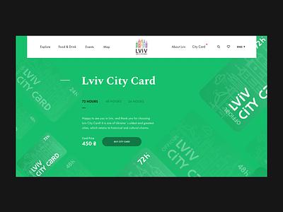 Lviv City Card — Web Page   Lazarev. guide buy clean green benefits desktop animation motion graphics 3d travel lviv tourism design web ux ui card city