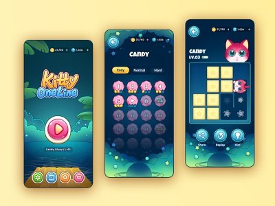 Kitty One Line - Main interface relax kitty one line fill puzzle game puzzle game ui ui game illustration android mobile