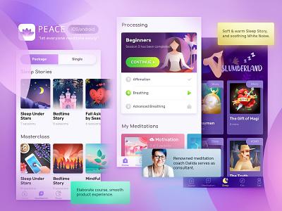 Peace : Guided Meditation sleep course peace purple mobile app meditation app ui mobile