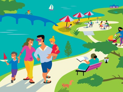 Summer at the resort the park yachts resort a family beach newspaper design illustration