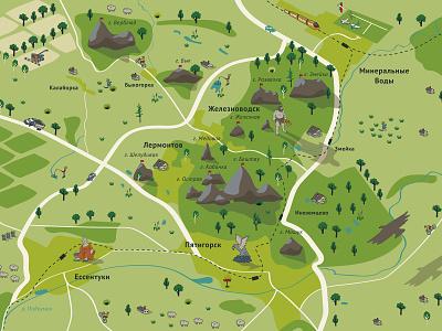 Map KMV plan mineral water hike mounts map illustration