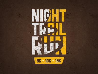 Night Trail Run Logo logo race 5k 10k marathon night trail run grunge