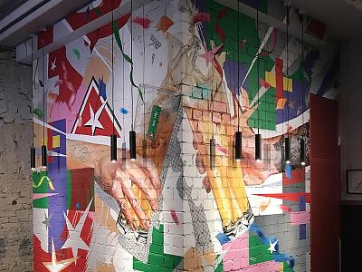 + + + logo acrylic branding walldecor wallpainting mural design neomural lithuania plugas