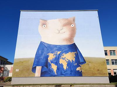 Cat geographer design illustration walldecor wallpainting mural neomural spraypainting lithuania plugas