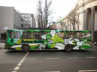 Kaunas Hockey trolleybus neomural design graffiti spraypainting kaunas plugas