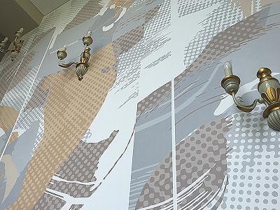 Abstraction acrylic design neomural wallpainting mural lithuania kaunas plugas