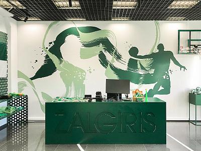 Žalgiris shop walldecor acrylic illustration walldecor wallpainting design mural neomural lithuania kaunas plugas