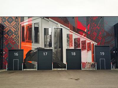 Funicular graffiti design wallpainting neomural mural spraypainting lithuania kaunas plugas