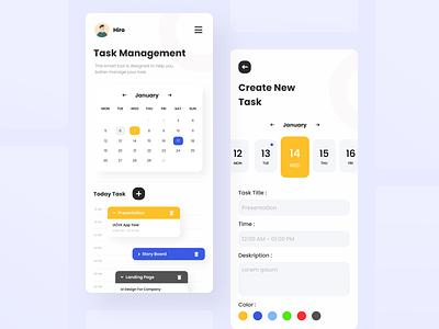 Task Manager - Mobile App ui clean simple colorful calendar planing task team branding mobile task mobile app task management design ux app