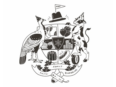 Coat of Arms - Davidson white black icon design logo illustration coat of arms bargains motto ink
