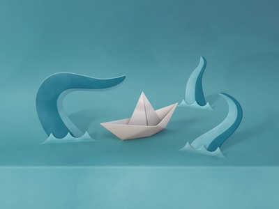Paper Sea Scene