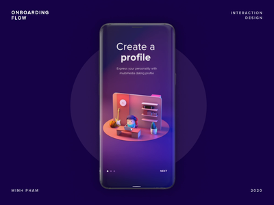 Onboarding Flow with 3D animation cartoon cinema 4d graphic design trending vietnam minh pham fun 3d dating motion uiux ui app illustration character mobile interaction animation product design