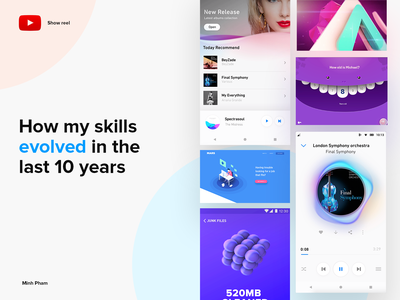 How my skills evolved in the last 10 years illustration app product design collection web design landing page mobile reel motion animation interaction 3d ui design ux ui minh pham vietnam