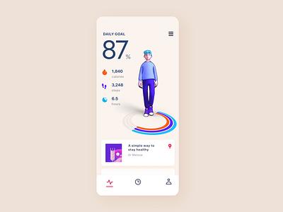 Health Tracking App Concept minh pham app ios character vietnam interaction motion animation interaction design 3d animation 3d illustration product design mobile ui design ux ui