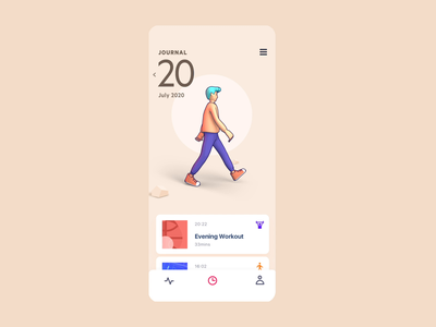 Health Tracking App Concept - Journal graphic 3d animation 3d character product design app illustration ux interaction mobile motion animation ui vietnam
