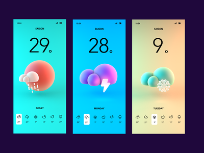 Weather App Visual Concept app product design vietnam 3d animation illustration interaction mobile uiux ux ui design ui