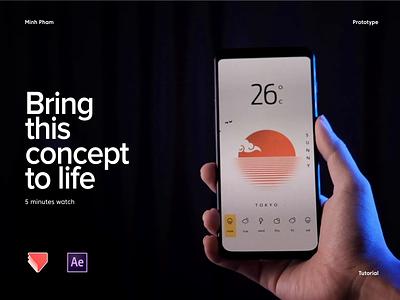 simple weather app prototype minh pham vietnam uiux android illustration prototype mobile app interaction animation ui