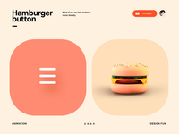 What if we take a hamburger button literally? fun graphic app icon button vietnam illustration 3d interaction motion animation ui