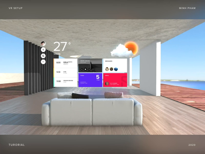 VR UI launcher concept interaction music player 3d motion animation ui