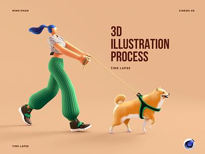 3D illustration process character design tutorial walking girl dog character modeling 3d illustration