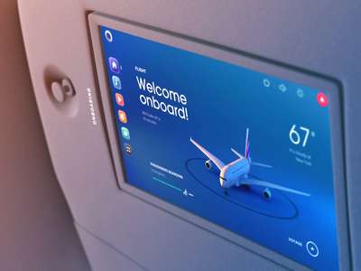 Flight onboarding and take-off airplane ux illustration interaction 3d motion animation ui