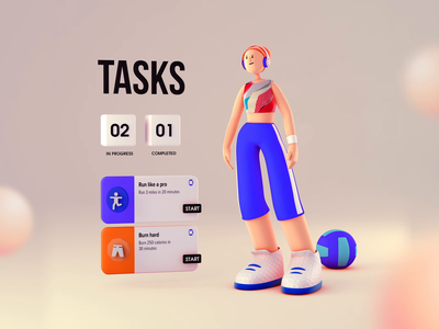 3D fitness character with UI ui vietnam illustration interaction motion 3d animation