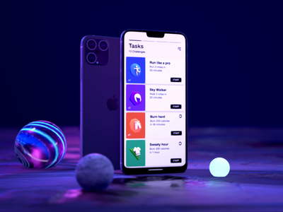 Swipe card to start - UI Interaction product design mobile interaction 3d ux ui animation