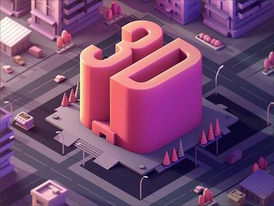 3D Isometric City motion vietnam cars city evening art illustration 3d animation