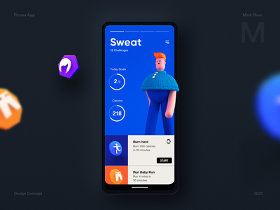 Gamified Fitness App Concept exercise gym concept vietnam fun game design illustration character fitness app 3d mobile ux ui