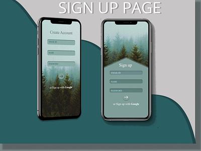 SIGN UP PAGE ux design