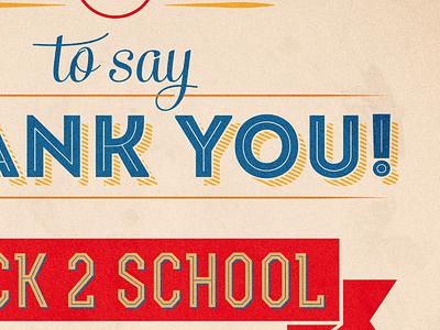 Back 2 School school illustrator vector typography simple back to school thank you banner shadow retro