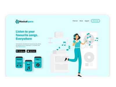 Musicalspace - Landing Page landingpage website logo vector ux ui illustration branding spotify music
