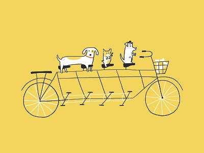 Joyride illustration artcrank poster short joyride cycle bones dogs yellow tandem bike